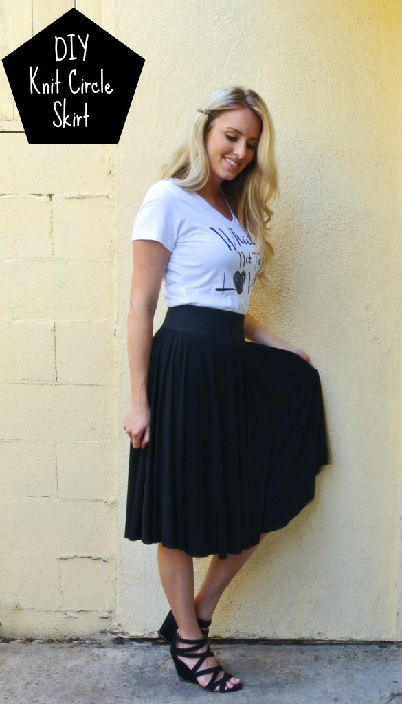 DIY Knit Circle Skirt, two steps:cut skirt & attach elastic band