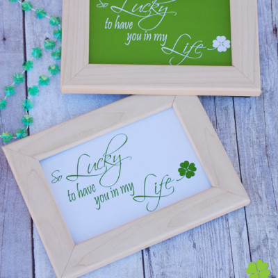 Grab this cute printable just in time for St. Patrick's Day. Who are you lucky to have in your life? {OneCreativeMommy.com} St Patricks Day decoration