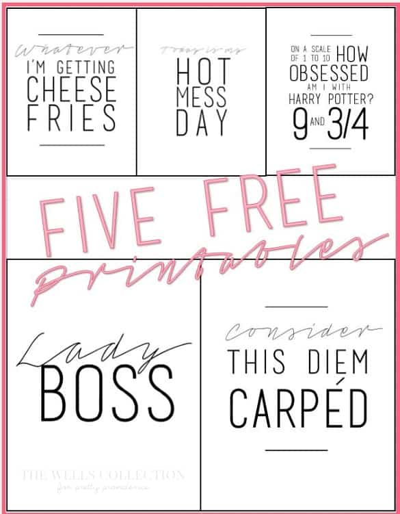 Love these five modern free printables! prettyprovidence.com
