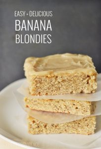 Easy + Delicious Banana Blondies. OMG These are SO good.