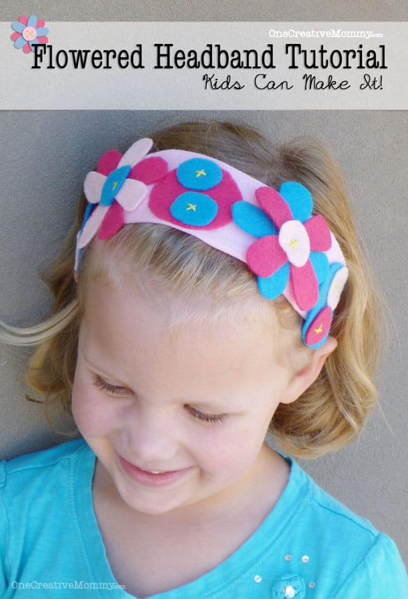 Flowered Headband Kids Craft Tutorial {Made from recycled t-shirts!} OneCreativeMommy.com