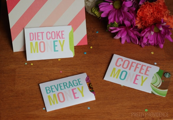 Free printable gift card sleeves for Starbucks or Sonic gift cards, etc! Perfect gift for friends!