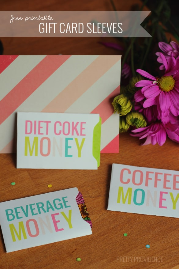 Free printable gift card sleeves for starbucks gift cards or any other drink place!