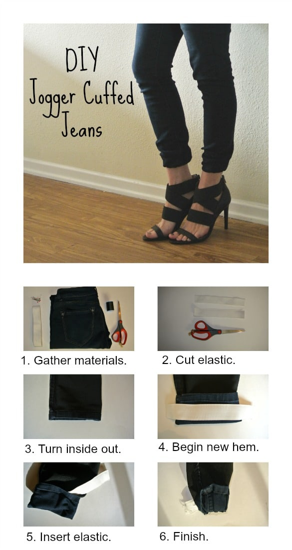 DIY jogger cuffed jeans