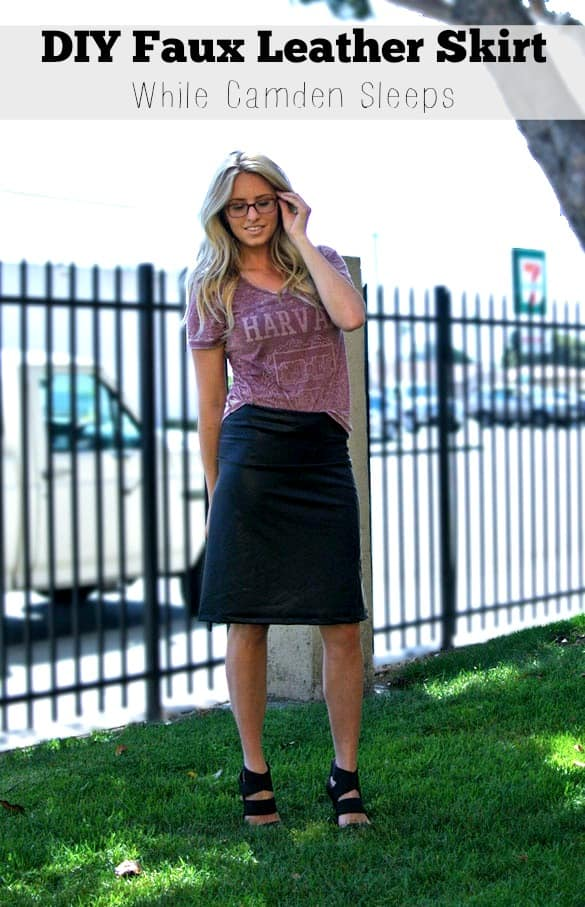 Super easy faux leather skirt tutorial! Takes 30 minutes. Perfect beginner's sewing project.