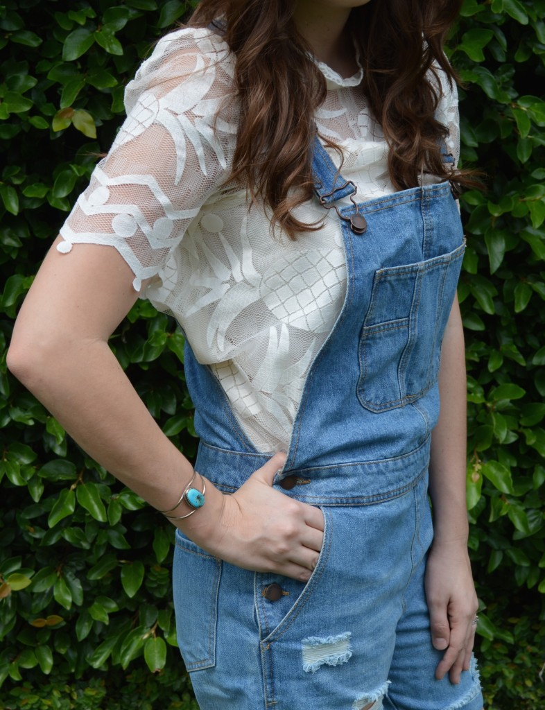 Overalls with a White Lace Top
