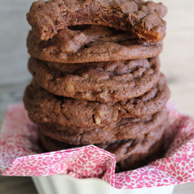 These freezable chocolate chocolate chip cookies will totally change your life! Soft, chewy and delicious! We always make a double batch and freeze half the dough so we can have these babies fresh anytime we want!