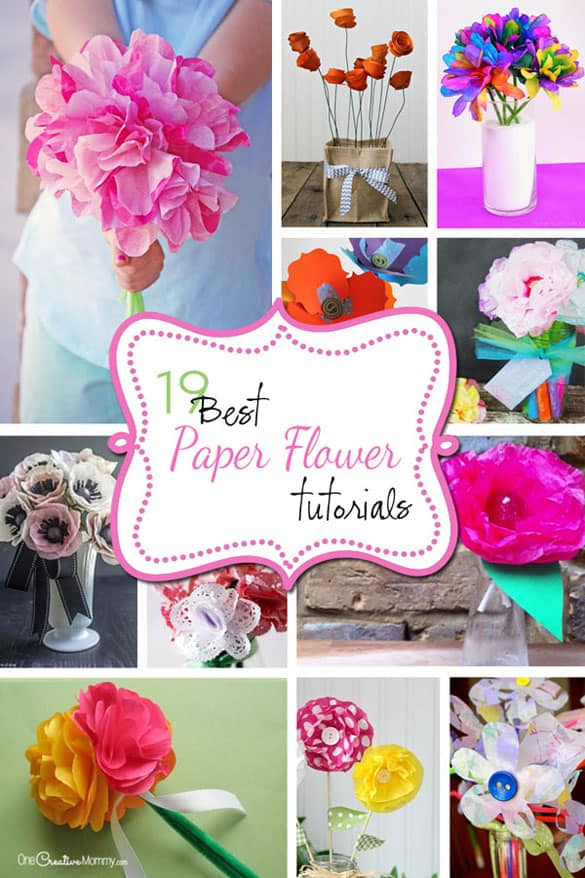 Wouldn't these paper flowers make a great gift for Mom or Grandma on Mother's Day? They'd look pretty on a teacher's desk, too. The possibilities . . . {OneCreativeMommy.com}