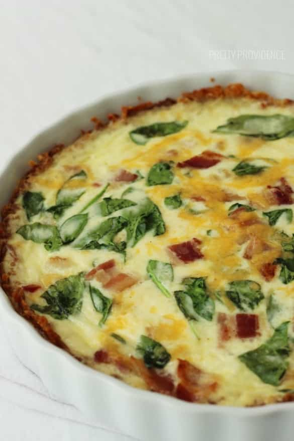 Quiche with hash brown crust! MMM!