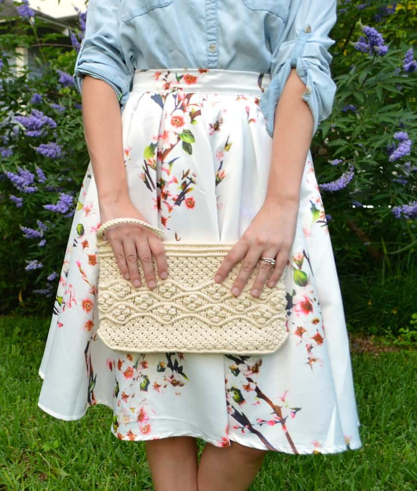 Floral Skirt and Woven Clutch