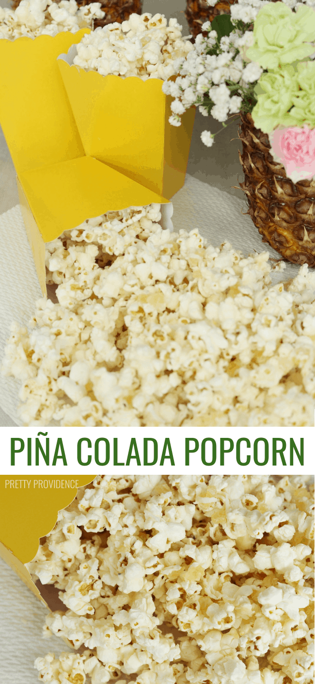 This Piña Colada Popcorn is AMAZING. 4 ingredients and easy to make!