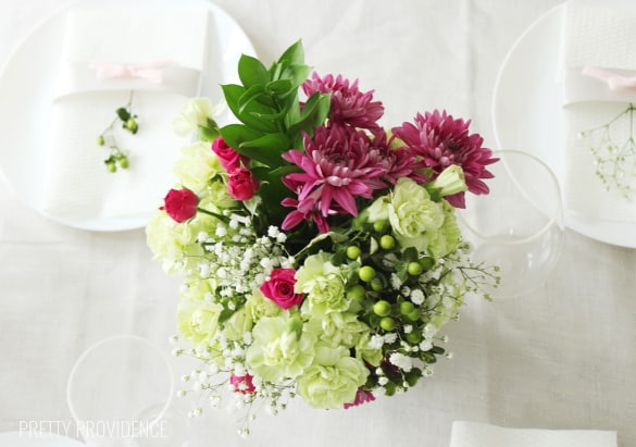 Re-arrange grocery store flowers for an elegant look on a budget!