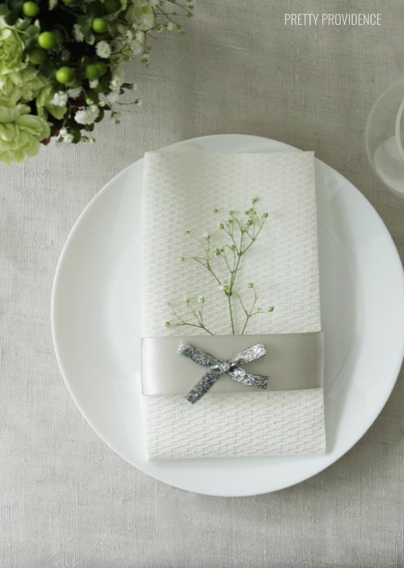 No need for fancy china and cloth napkins. Plain white dishes + paper towels can look classy too.