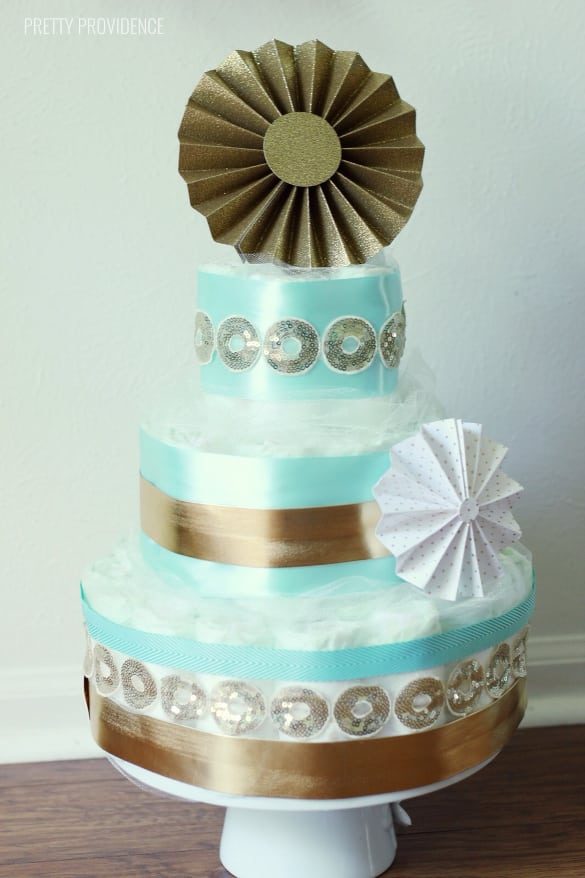 Classy and elegant diaper cake!