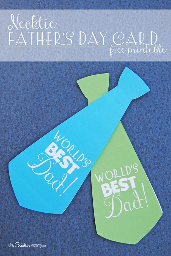 Necktie Father's Day Cards from OneCreativeMommy.com