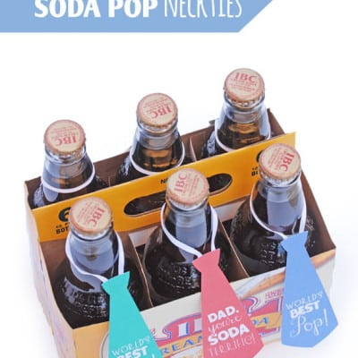 Quick and Easy Father's Day Soda Pop Gift Idea {free necktie printables from OneCreativeMommy.com} Perfect for Fathers Day!