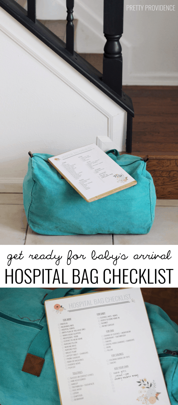 Free printable hospital bag checklist for having a baby! This covers it all!