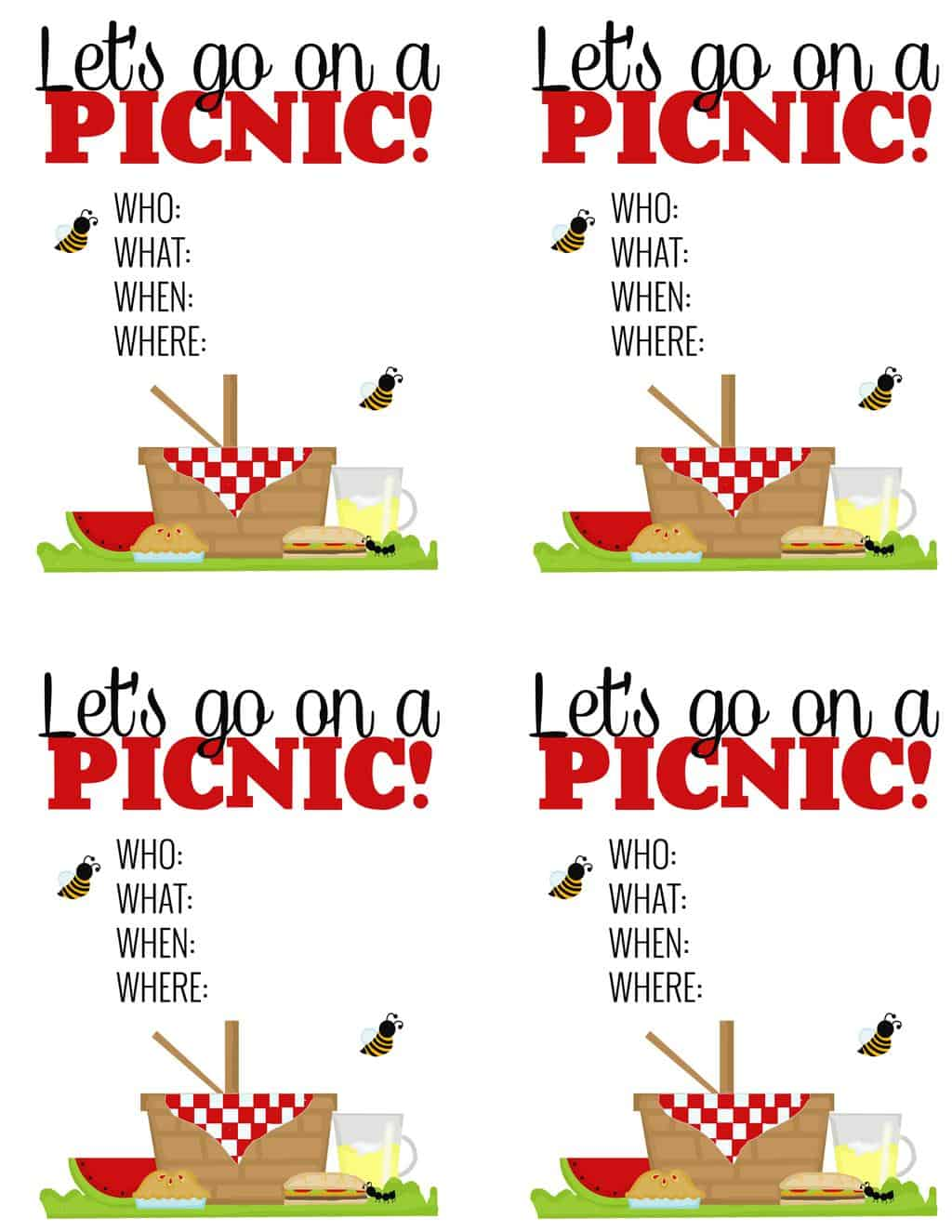 "I love this ""surprise"" picnic idea! The free printable picnic invites are super cute too. Great way to get together with friends with minimal cost and mess!"