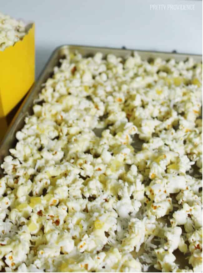 Piña Colada Popcorn - Melty white chocolate drizzled popcorn with coconut flakes and dried pineapple! Pretty Providence for 30 Handmade Days