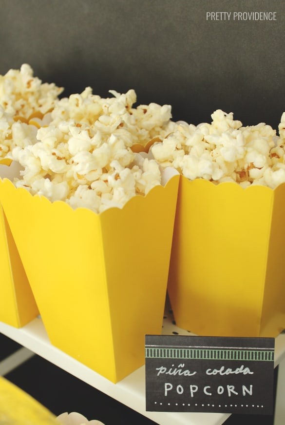 Piña Colada Popcorn - Pineapple party ideas!
