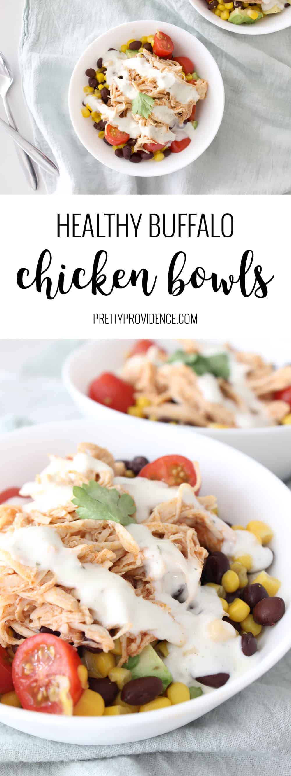 If you love healthy bowl recipes then you will love these buffalo chicken bowls! Made with tons of veggies, shredded buffalo chicken, avocados and a light ranch dressing they are filling and delicious! #buffalochicken #buffalochickencrockpot #buffalochickenbowls #healthydinnerrecipes #healthydinneridea #eatinghealthy #healthymeals