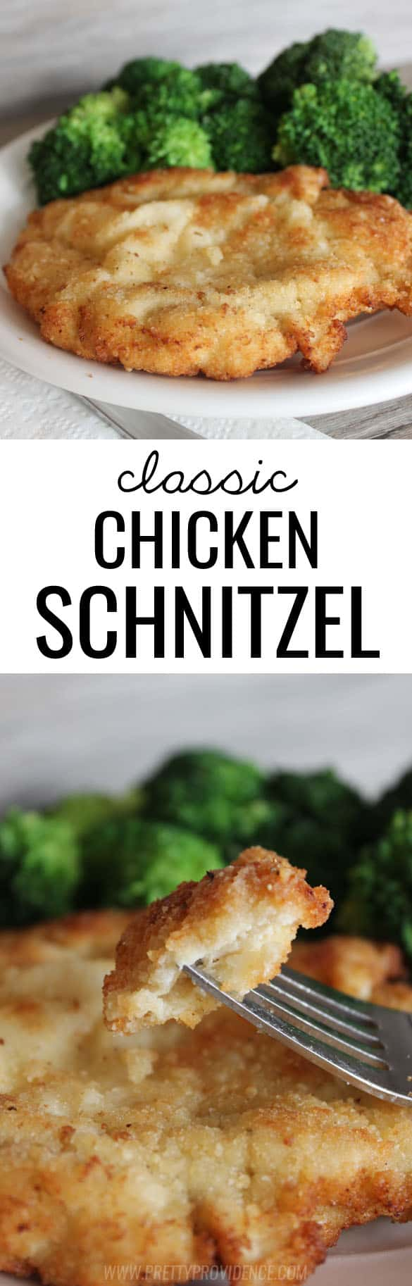 This classic chicken schnitzel recipe cannot be beat! Such a yummy dinner option the whole family will love! #chickenschnitzel #chickenschnitzelrecipe #chickendinner #easydinneridea #dinnerideas #schnitzel