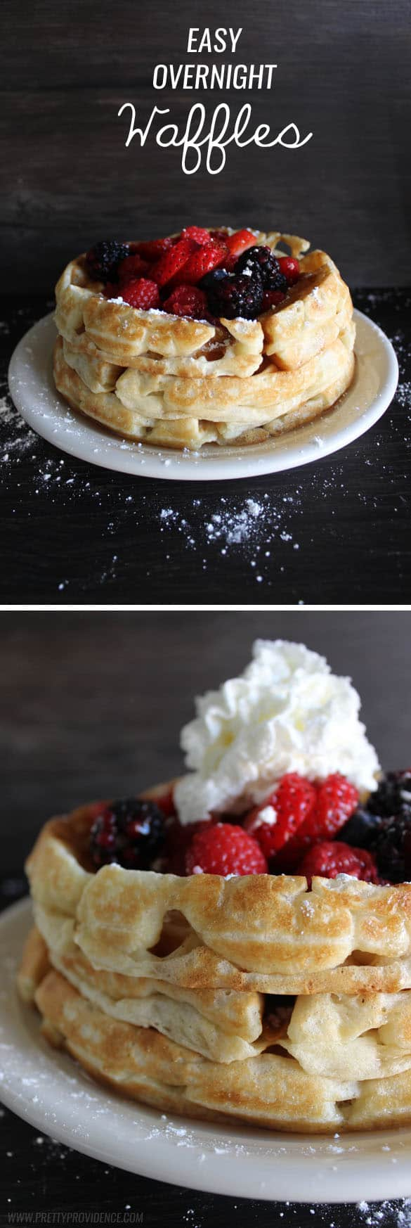 No lie, these are hands down the best waffles I have EVER eaten. We make these all the time and they never get old! So easy, too.