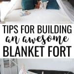 How to build a blanket fort collage - top photo is a teepee style blanket fort, a clothesline with sheets and clothes pins, clothes line tied to a door hinge, and sheets held up by clothesline.