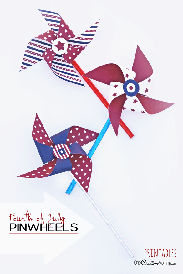 Mix and match these free printables to make cool Fourth of July Pinwheels! {OneCreativeMommy.com}