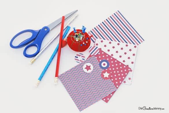 Fourth of July Pinwheel Craft Materials