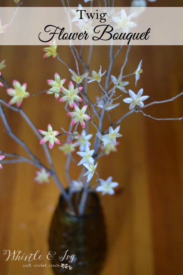 Make this beautiful twig flower bouquet with a few simple supplies and some sticks from your yard.