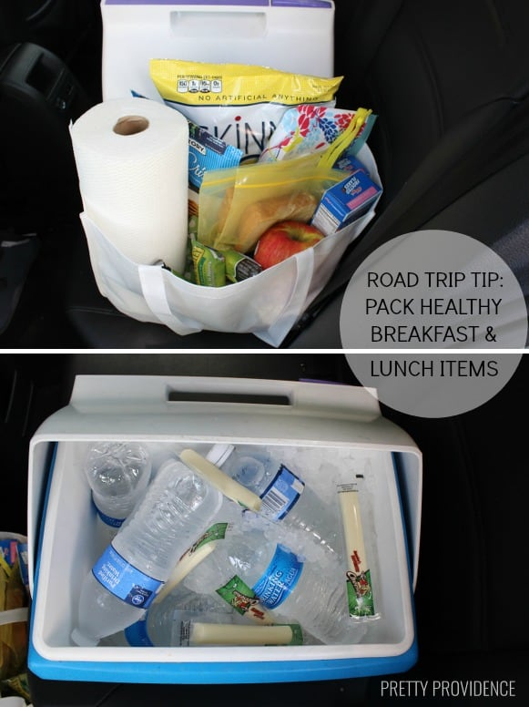Pack healthy breakfast + lunch items on a road trip to save money + calories!