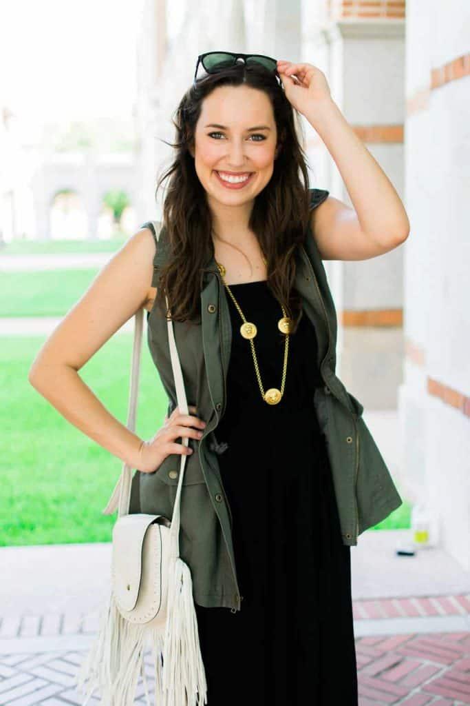 green vest, maxi dress, summer vest, fringe purse