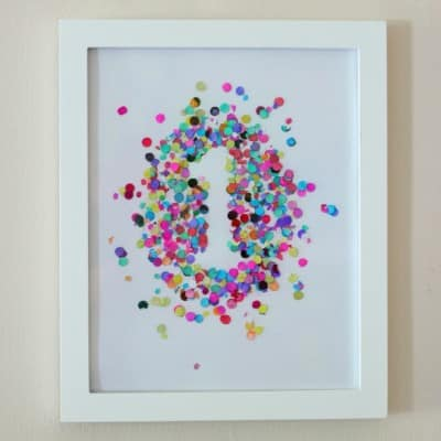 birthday party confetti number wall art
