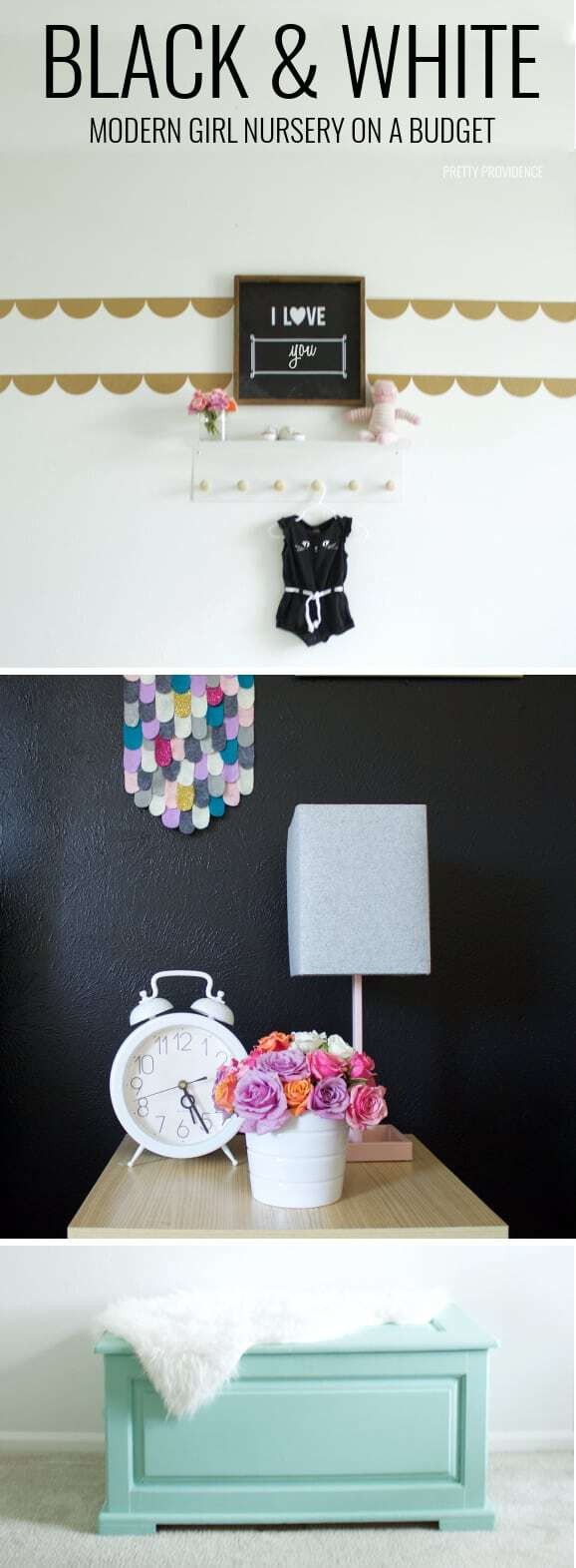 Modern black + white girl nursery on a budget! Love this SO much and all the sources are there!