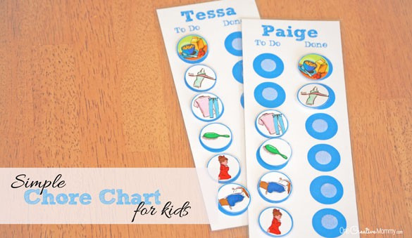 Teach young children responsibility with this simple chore chart for kids! {OneCreativeMommy.com} Free printable