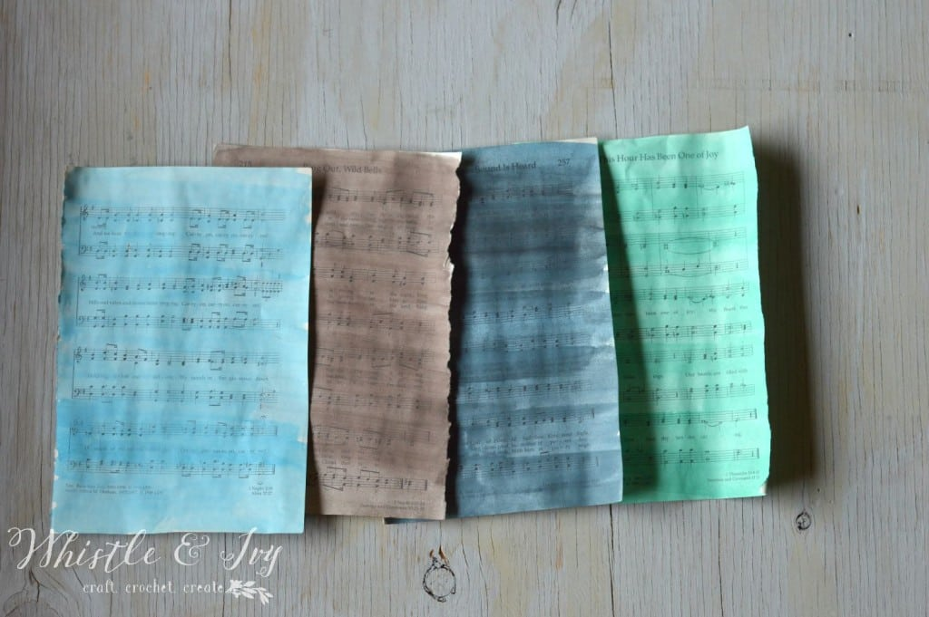Watercolor Sheet Music Art - Recycle old sheet music into this beautiful art to display in your home.