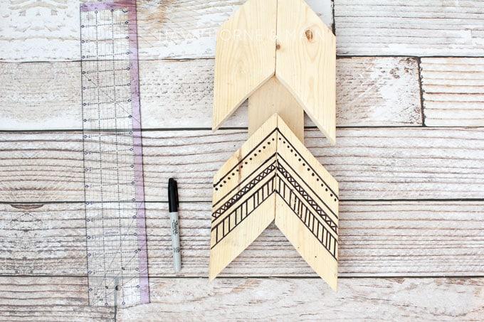 tribal wood aarow wall art 3