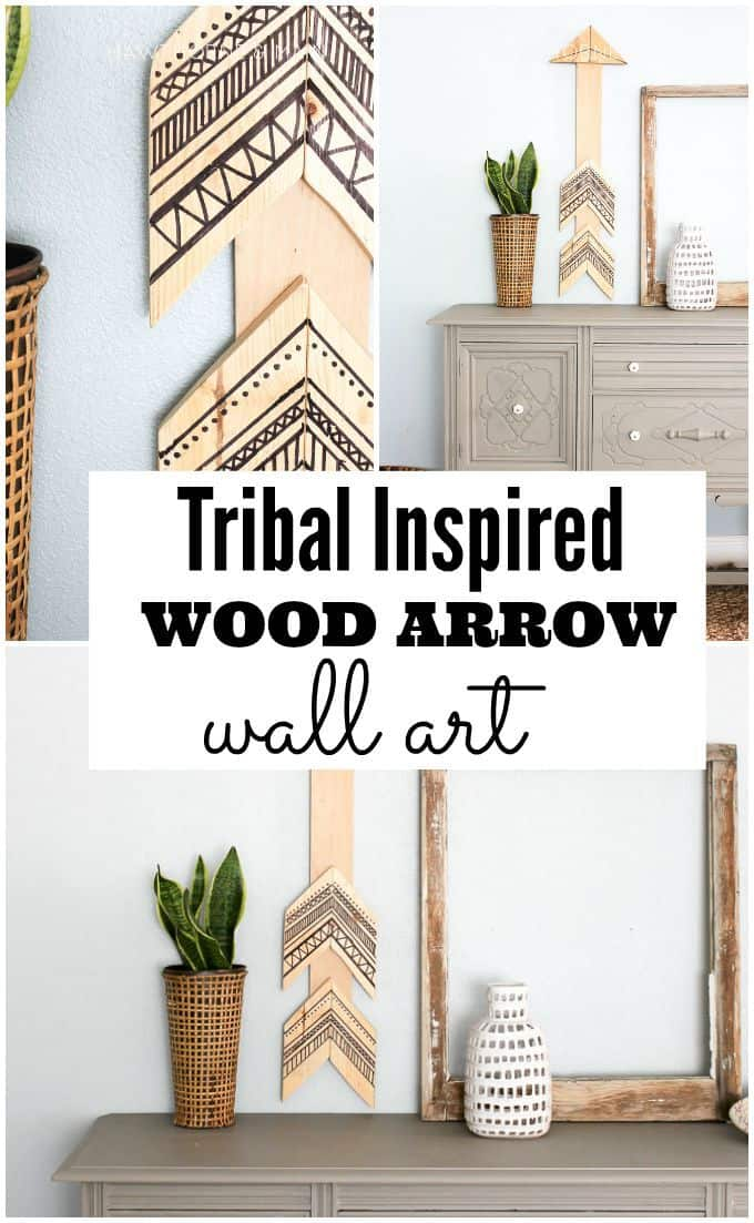 tribal wood aarow wall art title