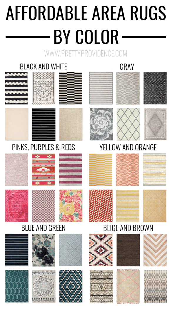 This post is AMAZING. Affordable area rugs - 5x7 less than $150 or 8x10 less than $200 - sorted by color! prettyprovidence.com