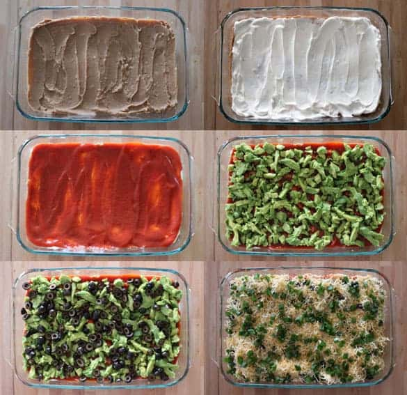 How to Make Seven Layer Dip Step by Step pictures in a 9x13 glass dish