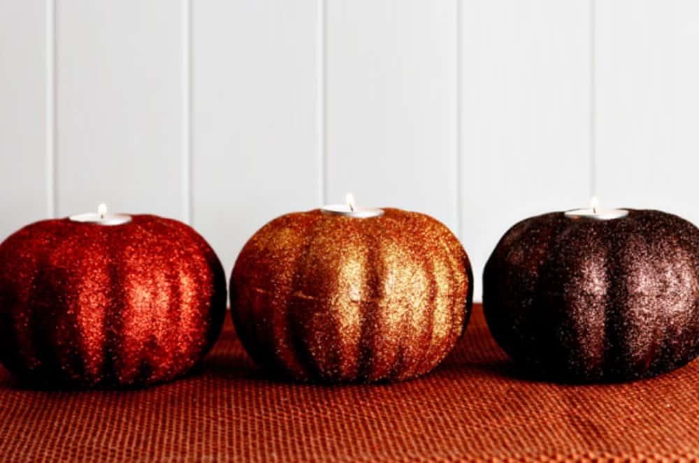 Glitter Pumpkins in Red, Gold and Bronze