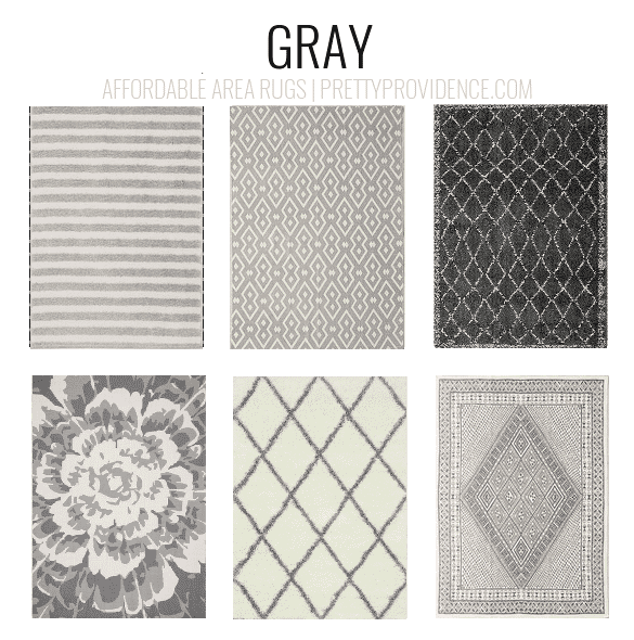 Gray rugs. Affordable area rugs - 5x7 less than $150 or 8x10 less than $200 - sorted by color! prettyprovidence.com
