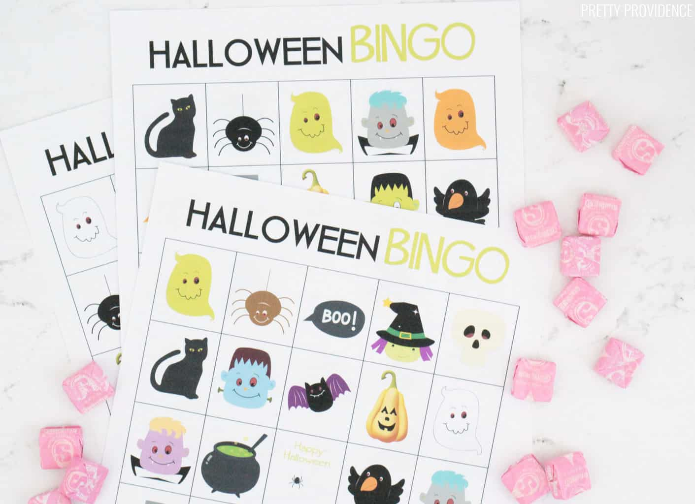 Halloween Bingo Free Printable Cards with pink starburts