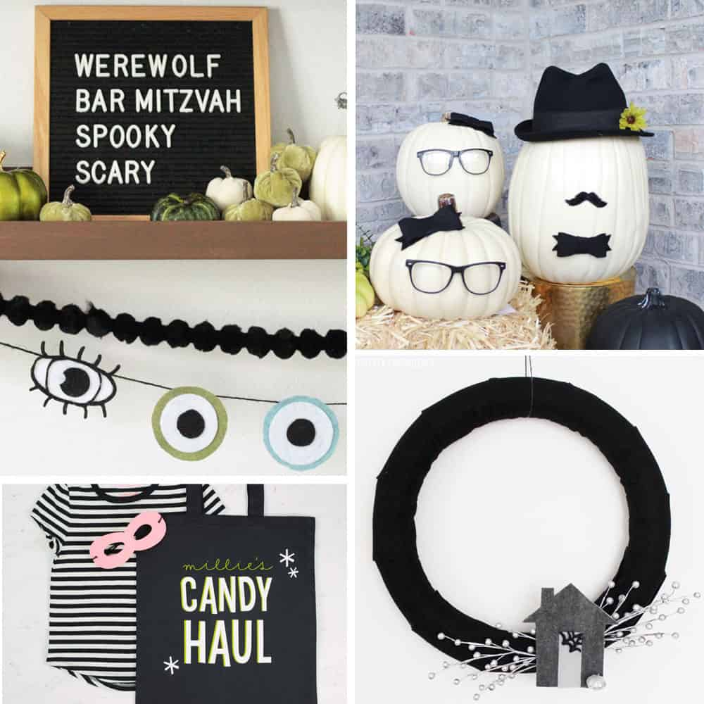 Halloween Crafts for Adults, garlands, wreaths, no-carve pumpkins, decorations and tote bags.