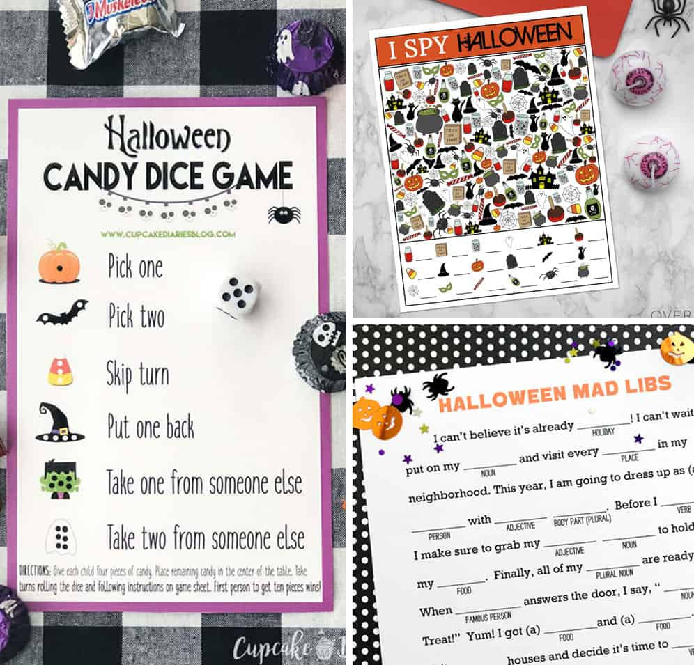 Halloween games for kids printables. I spy, candy dice and mad libs.