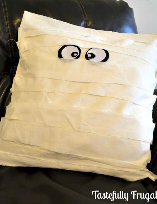 No Sew Knock Off Pottery Barn Mummy Pillow www.tastefullyfrugal.org