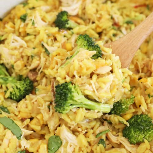 Cheesy Chicken and Rice Slow Cooker Meal