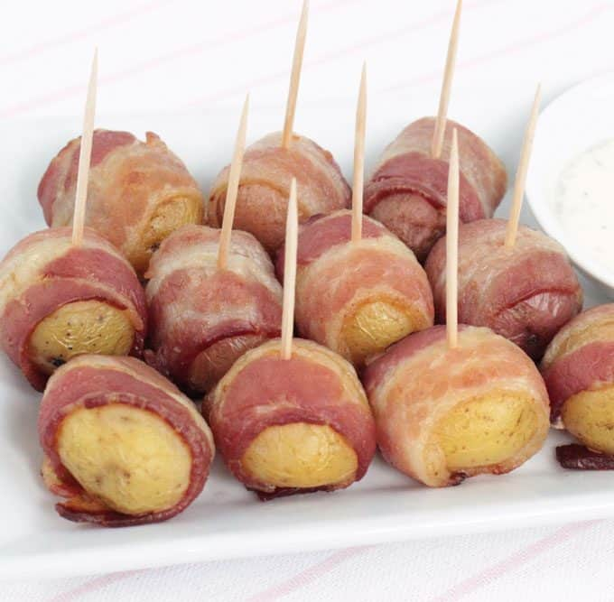 Bacon-Wrapped Potatoes with Dill Sauce