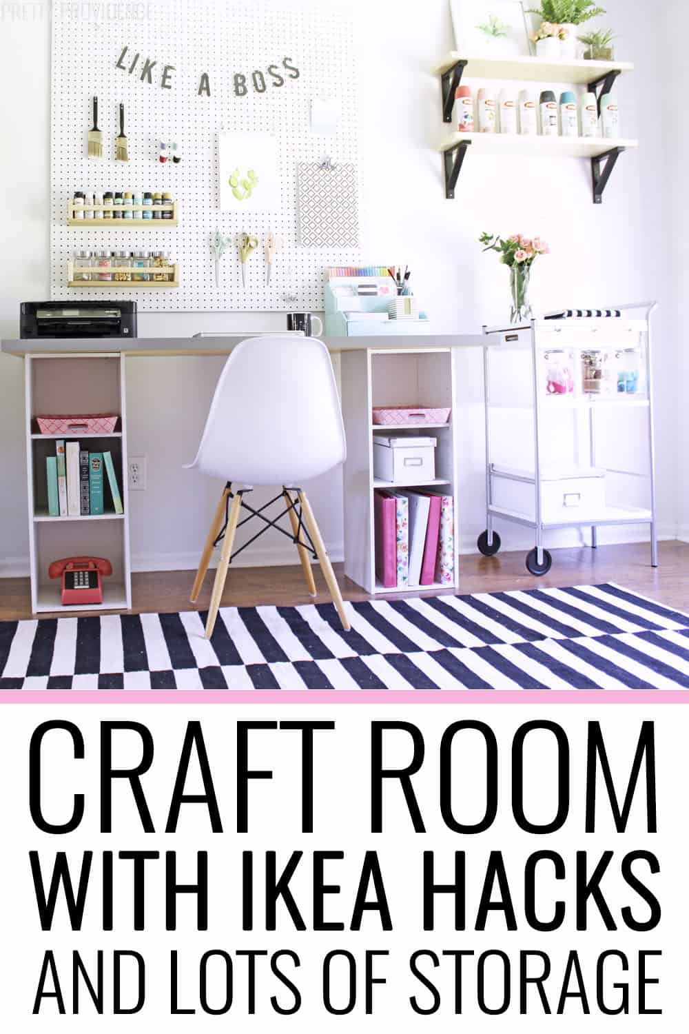Craft room organized with storage for craft supplies and IKEA hacks!